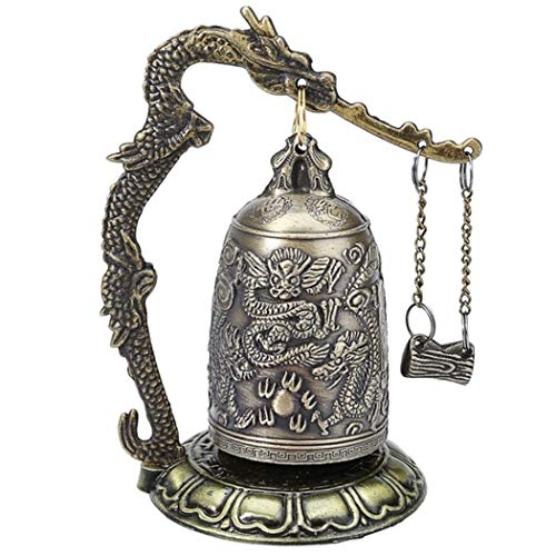 KaiKBax Divine Bell Vintage Style Bronze Lock - Dragon Carved Buddhist Bell - Good Luck Bell for Meditation Altar & Home Office Decor