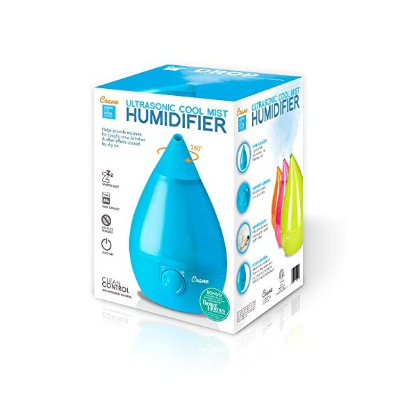 Crane Humidifier, Ultrasonic Cool Mist Humidifiers, Filter-Free, 1 Gallon, for Home Bedroom Baby Nursery and Office 3 1 GALLON TANK: Removable 1 gallon tank fits under most bathroom sinks for easy filling and runs whisper quiet up to 24 hours CLEAN CONTROL: Anti-microbial material reduces mold and bacteria growth by up to 99.96% SOOTHING RELIEF: Ultrasonic Cool Mist effectively humidifies up to 500 square feet for easier breathing and a good night's sleep