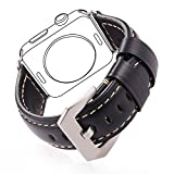 Leather Band for Apple Watch All Versions, Bandmax Series 2/1 Genuine Leather Strap Replacement with Stainless Steel Classic Buckle(Black 42MM)
