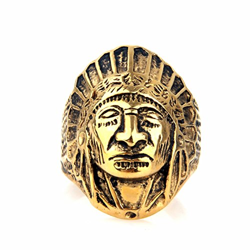 Indian Ring (Mens Stainless Steel Native American Apache Indian Chief Head Ring)