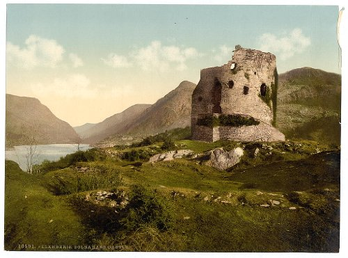 10 x 14 Antique Photochrome Image of: c. 1890 - 1906 Dolbadarn Castle, Llanberis, Wales Professionally Reprinted Dolbadarn Castle