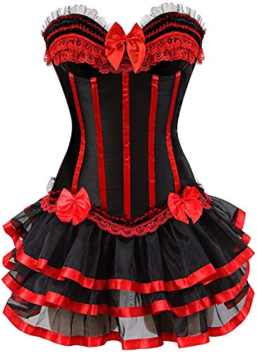 Mystic X Men Halloween Costume (Blidece Gothic Halloween Lace up Corset Bustier Petticoat Skirt Moulin Rouge Showgirl Clubwear Red)