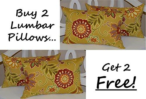 Set of 2 - Indoor / Outdoor Decorative Lumbar / Rectangle Pillows + 2 Free - Tan, Burgundy, Purple, Green, Teal, Ivory Floral (Floral Tan Scroll)