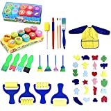 Beetest uk 62pcs Kids Painting Foam Sponge Brush Apron Tools for Children Kindergarten Nursery School Early Education Drawing Learning
