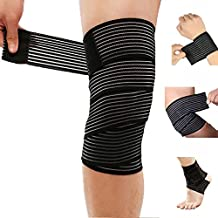 HemeraPhit Elastic Bandage Wrap Tape Knee Pads Wrist Support Straps Ankle Protector Bands (150cm Knee Bands)