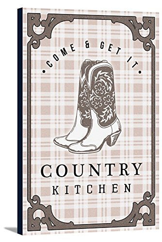 Country Kitchen - Cowboy Boots on Plaid (12x18 Gallery Wrapped Stretched Canvas) by Lantern Press