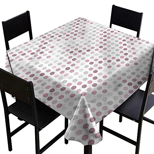Elegance Engineered Tablecloth Mauve Circular Round Shapes Dots Excellent Durability W36 xL36 Washable Polyester - Great for Buffet Table, Parties, Holiday Dinner, Wedding & ()