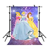MME Backdrop 5x7ft Purple Galaxy Background Disney Cartoon Princess Children Photography Seamless Vinyl Photo Studio Props Backdrop NANME627