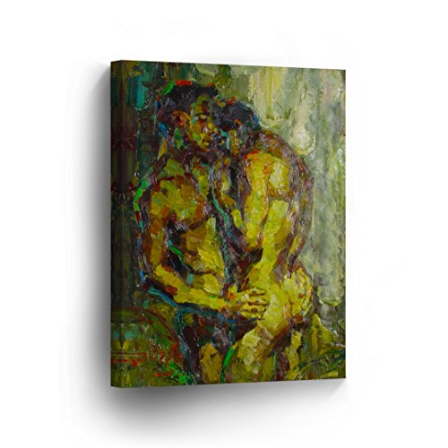 Nude Gay Couple Oil Painting CANVAS PRINT Sexy Kiss Erotic Wall Art Home Decor Artwork Naked Man Life Partner Sexy Wall Art Wrapped Stretcher Bars - Ready To Hang %100 Handmade in the USA - V5