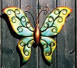 Metal Arte Jardín de mariposa para paredes o vallas–35cm (H) X 42cm (W)–Wa16