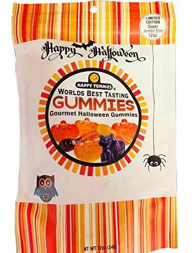 Happy Yummies Worlds Best Tasting Gummies 12 Oz! Gourmet Halloween Assorted Gummies! Gluten Free & Fat Free Gummy! Chewy And Tasty Gummy Candy! Choose From Large Size Or Medium Size!