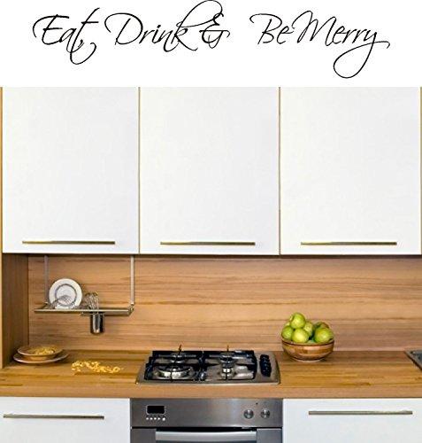 FSSS Ltd Eat Drink & Be Merry Kitchen Wall Art Vinyl Sticker 13 Metres Wide Home Diy Sc Burgundy Burgundy