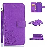 iPhone 6S Plus Case, iPhone 6 Plus Case, Alkax Premium PU Leather Wallet Hybrid Folio Flip Protection Series Cover[Kickstand][Magnet][Wrist Strap] with Credit Card ID Slot +1 Free Stylus Pen (Purple)