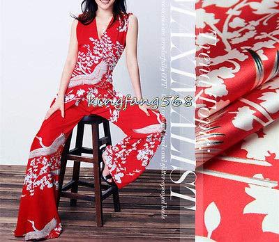FidgetFidget Fabric White Crane 93% Silk 7% Spandex Stretch Satin Culotte apparel1m U265