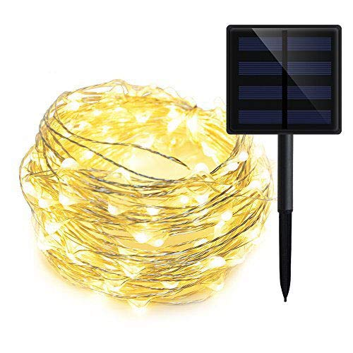 GEEKHOM Solar String Lights, Ourtdoor Waterproof Warm White Starry Fairy Lights, 72 ft 200 LEDs 8 Modes Copper Wire Ambient Decorative Rope Lights for Garden Christmas Tree Party Wedding