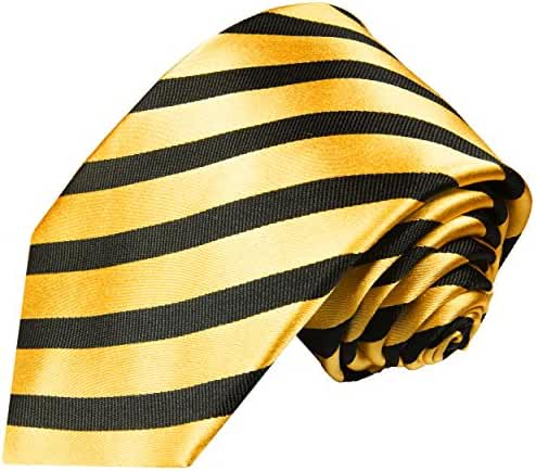 Paul Malone Striped Necktie 100% Silk Gold Black