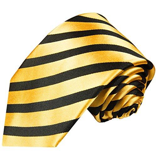 Paul Malone Striped Necktie 100% Silk Gold ()
