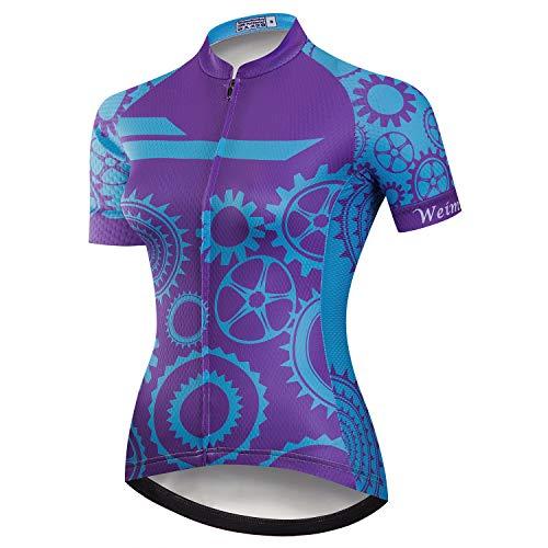 Weimostar Women's Cycling Jersey Short Sleeve MTB Bike Bicycle Clothing Shirt Jacket Quick Dry Gear Blue Purple Size M (Best Bike Jerseys 2019)