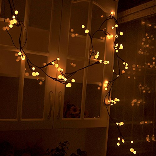 ELEOPTION Outdoor Indoor String Lights Plug In Decorative Fairy LED Light with Waterproof US Plug AC 120V Star String Light for Patio Curtain Bedroom Wedding (8.2Feet With 72LEDs (Pergola Wall Supports)