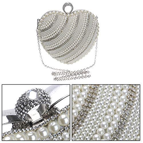 For Wedding Chain Purse Clutches Handbags Silver Womens Dress Bags Evening Bead fqC6wta