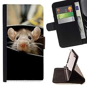 For Motorola Moto E (1st Gen, 2014) Rat Cute Rodent Peeking Big Ears Animal Style PU Leather Case Wallet Flip Stand Flap Closure Cover