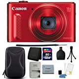 Canon PowerShot SX610 HS 20.2MP Wi-Fi Enabled Digital Camera (Red) + 32GB Memory Card + Wallet + Card Reader + Camera Case + Cleaning Kit + Small Tripod