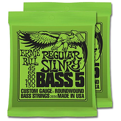 2 Sets of Ernie Ball Nickel RoundWound Regular Slinky 5-String Bass Strings (45-130)