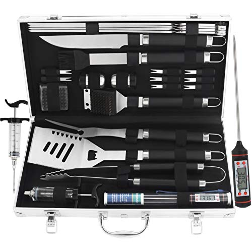 grilljoy 24PCS BBQ Grill Tools Set with Meat Thermometer and Injector - Extra Thick Stainless Steel Fork, Spatula& Tongs - Complete BBQ Accessories in Aluminum Case - Perfect Grilling Tool Set Gift