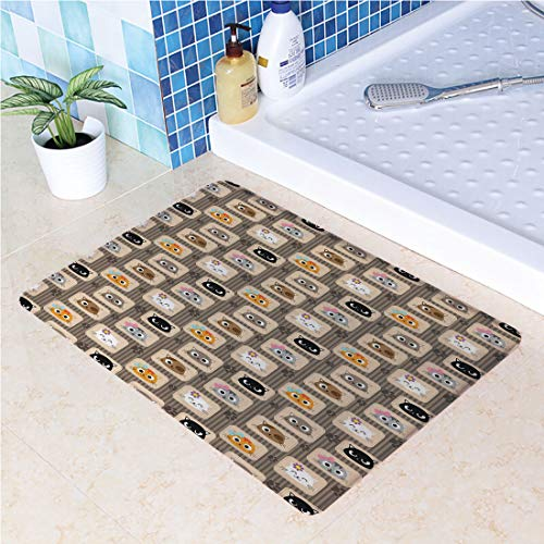 """Indoor Modern Anti-Skid Carpet Printed Block Bathroom Carpet,19.69"""" W x 31.50"""" L,Cat,Patchwork Inspired Pattern Adorable Kitty Faces Silly Expressions Footprints Stripes Decorative,Multicolor"""