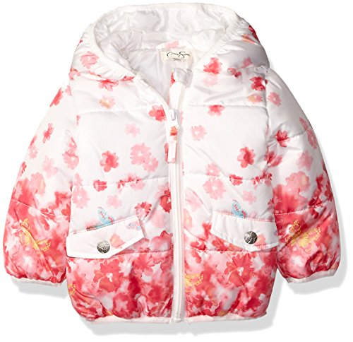 Jessica Simpson Baby Girls' Floral Print Bubble Jacket, Pink, 12 Months