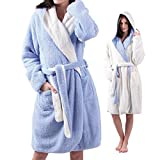 ALL AOER Hooded Bathrobe for Womens, Wear Reversible Ladies Short Sherpa Robes, Palevioletred - White cozy Lightweight, One Size