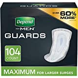 Depend Incontinence Guards/Bladder Control Pads for Men, Maximum Absorbency, 104 Count