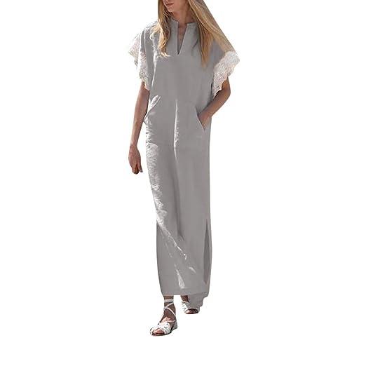 bf973d57538 Image Unavailable. Image not available for. Color  LISTHA Womens Long  Sleeve Maxi Dress Kaftan Cotton Plain Casaul Oversized Long Dresses