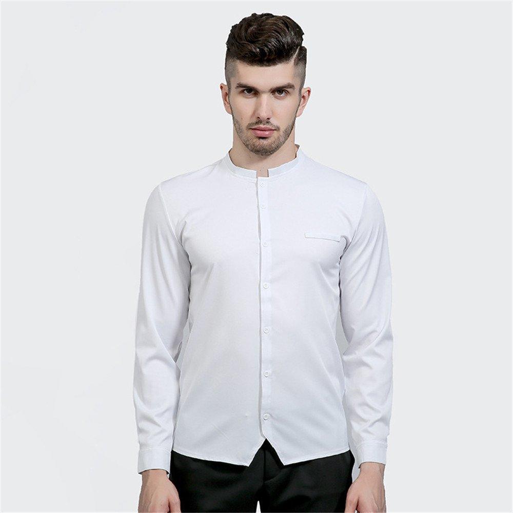 Lixus Mode - Freizeit - Shirt oberhemden mit unregelmäßigen Schlitze dunkle Farbe Hemd,weiße,XL