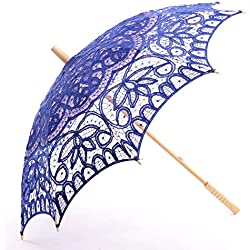 Topwedding Classic Cotton Lace Parasol Umbrella Bridal Shower Decoration, Royal Blue
