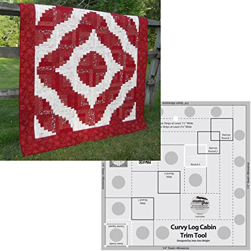 - Bundle of Creative Grids Curvy Log Cabin Trim Tool 8in Finished Blocks and Cut Loose Press Squiggles Curvy Log Cabin Quilt Pattern