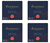 Waterman 4 Cases of 6 International Short Cartridges for Fountain Pen Audace Red Ink