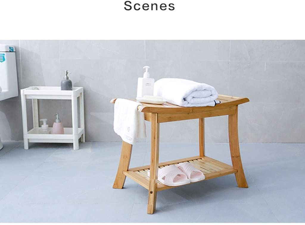 Thicken Bamboo Solid Wood Bath Stool Waterproof Non-Slip Shower Stool Change Shoe Bench Storage Stool