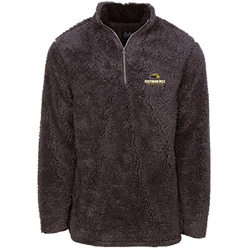 Oxford NCAA Southern Mississippi Golden Eagles Men's Sherpa Long Sleeve 1/4 Zip Pullover, Medium, Magnet