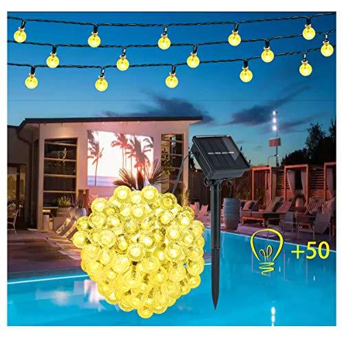 Guirnalda Luces Exterior Solar – 50 LED 9.5M Cadena de Bola Cristal Luz, Guirnalda Solar LED Bola de Cristal Luces…