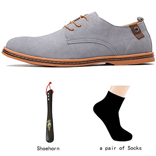 OUOUVALLEY Mens Suede Leather Oxford Flats Shoe K01 Grey eXC1ZsA