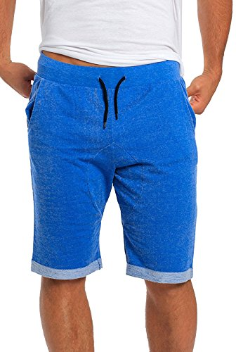 Classic Fit Elastic Jogger Gym Flat Front Shorts With Contrast Drawstring Waist And Folded Trim Royal Blue Large ()