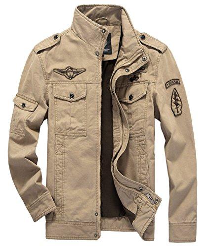 chouyatou Men's Casual Lightweight Zip Cotton Harrington Jacket Windbreaker (XX-Large, Khaki)