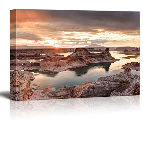 Canvas Prints Wall Art - Beautiful Scenery/Landscape Lake Powell View from Alstrom Point in Glen Canyon National Recreation Area | Ready to Hang - 24