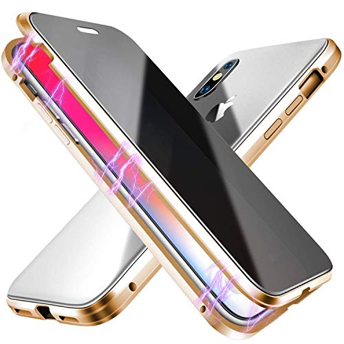 ESTPEAK Anti-peep Magnetic Case for iPhone 7/8,Anti Peeping Magnetic Adsorption Double-Sided Privacy Screen Protector Clear Back Metal Bumper Antipeep Anti-Spy Phone Cases Cover for iPhone 7/8-Gold