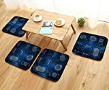 UHOO2018 Fillet Chair Cushion Technological hud Elements Interface Virtual Reality Suitable for The Chair W13.5 x L13.5/4PCS Set