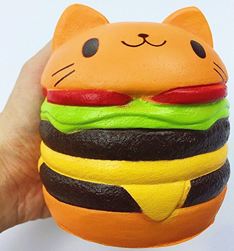 Jumbo Slow Rising squishies Kawaii Cat Hamburger Cream Scented Stress Relief large Kawaii Squishy as Collection Gift Toy (Orange)