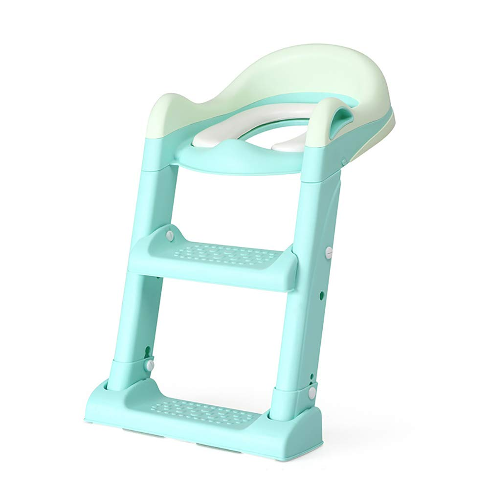 HSRG Potty Training Seat for Kids,Adjustable Toddler Toilet Potty Chair,Non-Slip Step Stool Ladde, for Boys and Girls,Green