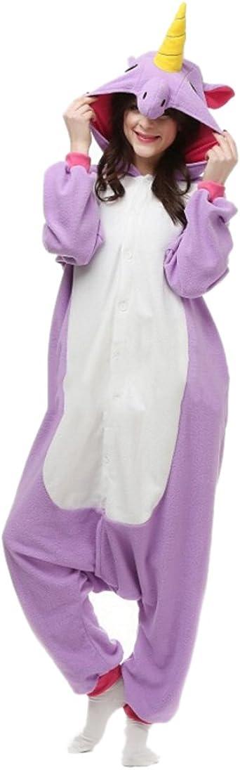 Fandecie Pijama Unicornio Púrpura, Onesie Modelo Animales para adulto entre 1,60 y 1,75 m Kugurumi Unisex.