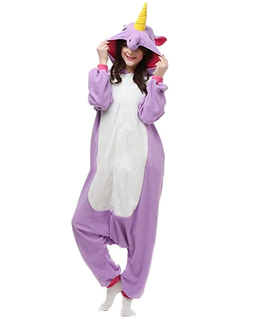 Fandecie Pijama Unicornio Púrpura, Onesie Modelo Animales para adulto entre 1,60 y 1